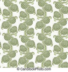 décoratif, cônes, grand, seamless, houblon, modèle