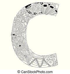 décoratif, c, coloration, objet, vecteur, lettre, zentangle.