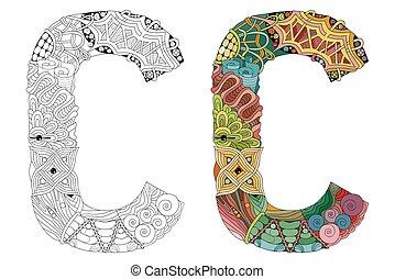 décoratif, c, coloring., objet, vecteur, lettre, zentangle