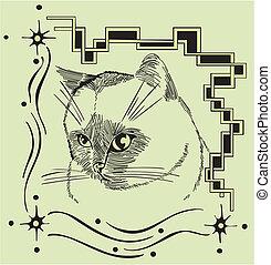 décoratif, cadre, chat