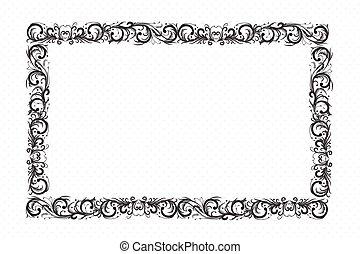 décoratif, cadre, conception, or