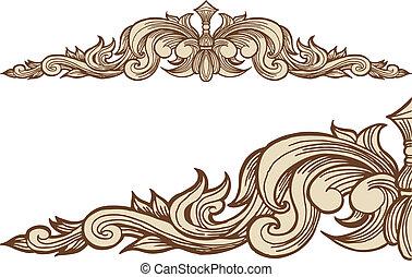 décoratif, cadre, flèche