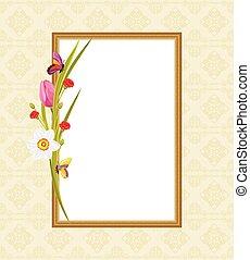 décoratif, cadre, fleurs