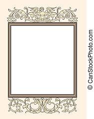 décoratif, cadre,  Photo,  vect, vendange