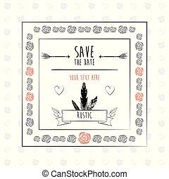 décoratif, cadre, rustique, date, floral, sauver