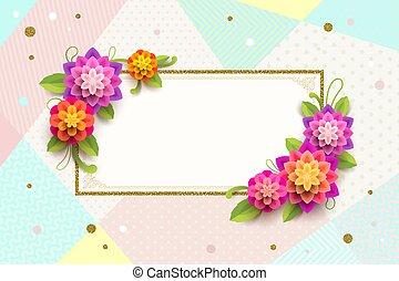 décoratif, cadre, salutation, arrière-plan., fleurs, résumé, carte