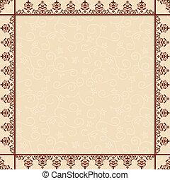 décoratif, cadre, -, vecteur, arrière-plan beige, floral
