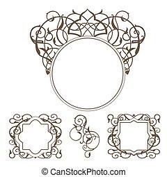 décoratif, cadre, vecteur, victorien, style.