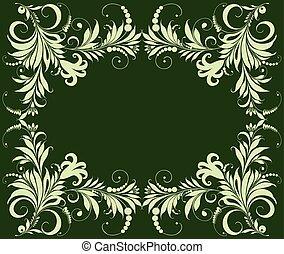 décoratif, cadre, vert, carte, salutation, vecteur, floral