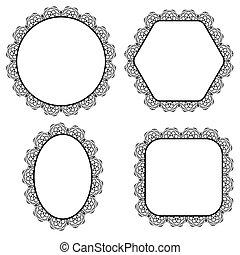 décoratif, cadres, cercle, ensemble