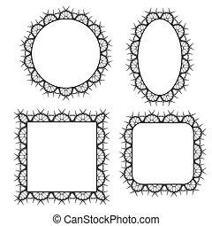 décoratif, cadres, cercle, ensemble, vecteur