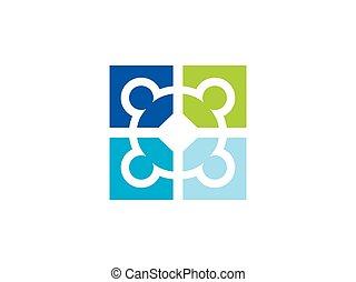 décoratif, carrée, puzzle, connexion, vecteur, logo, cercle