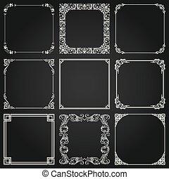 décoratif, carrée, vecteur, ensemble, 4, cadres, frontières