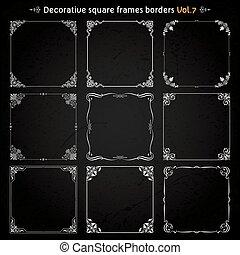 décoratif, carrée, vecteur, ensemble, 7, cadres, frontières