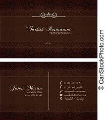 décoratif, carte affaires, restaurant