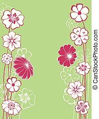 décoratif, carte, vecteur, fleurs, salutation, dessiné