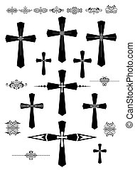 décoratif, catholique, ensemble, croix, éléments, conception