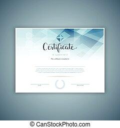 décoratif, certificat, conception, 2809