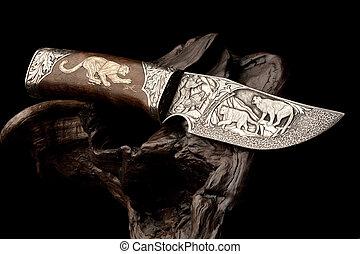 décoratif, chasse, knife.