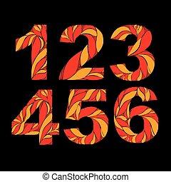 décoratif, chiffres, style, floral, orange, vendange, pattern., nombres, 6., automne, 5, 4, ardent, 3, 2, 1