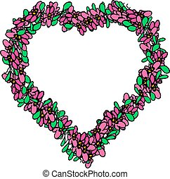 décoratif, coeur, frame., isolé, illustration, arrière-plan., vecteur, floral