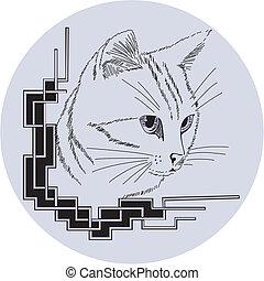 décoratif, coin, chat