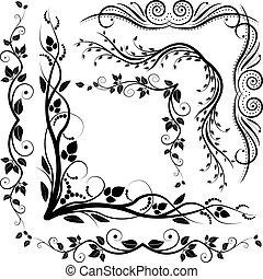 décoratif, coins