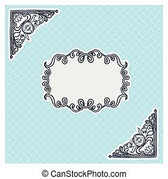 décoratif, coins, style, cadre, vendange