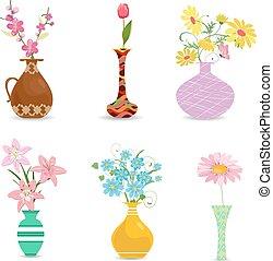 décoratif, collection, conception, vases, fleurs, ton