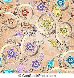 décoratif, coloré, modèle, seamless, fleurs, arrière-plan., vecteur, paisley., floral, doodles