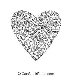 décoratif, coloration, heart., illustration., plus vieux, vecteur, adulte, children., amour, livre