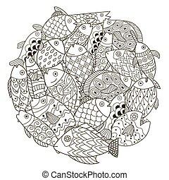 décoratif, coloration, modèle, fish, forme, livre, cercle