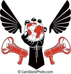 décoratif, composé, élevé, emblème, tenue, propaganda., serré, megaphones., globe, musculaire, composants, vecteur, liberté, poing, politique, ailes, autorité