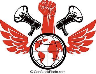 décoratif, composé, élevé, influence., emblème, tenue, moyens, serré, megaphones., global, politique, musculaire, vecteur, liberté, poing, globe, ailes, autorité, social