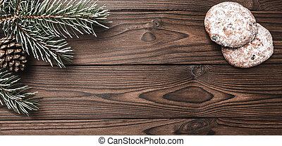 décoratif, composition., brun, arbre, année, message, sapin, espace, sommet, poser, arrière-plan., bois, nouveau, noël, heureux, plat, year., lettre, cone., santa., sweets., noël, vue