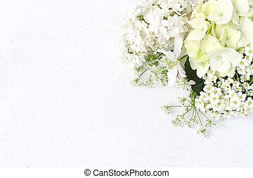 décoratif, composition., pomme, bouquet, appelé, photo., table, hortensia, arrière-plan., flowers., blanc, branche, stockage, plat, anniversaire, poser, mariage, floral, spirea, lilas, floraison, arbre, sauvage, ou