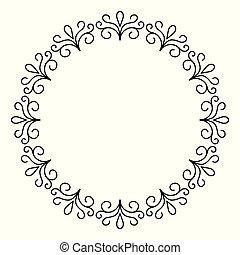 décoratif, contour, cadre, monochrome, cercle, conception