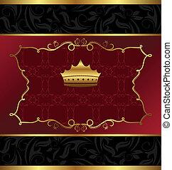 décoratif, couronne, fond, orné