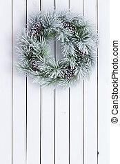 décoratif, couronne, taché, blanc vert, noël