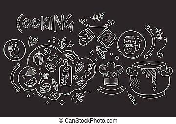décoratif, croquis, éléments, culinaire, ingrédients, drink., dishes., cuisine, recette, style, book., theme., préparation, ustensiles, vecteur, conception, nourriture, branché, dessiné, main, cuisine