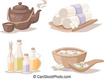 décoratif, croquis, ensemble, serviettes, bougies, arôme, symboles, vector., huiles, spa, bambou
