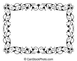 décoratif, décoratif, cadre, noir, floral, oriental