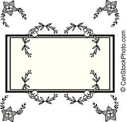 décoratif, décoratif, card., simple, cadre, salutation, vecteur, floral