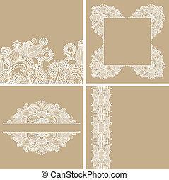 décoratif, décoratif, ensemble, fond, vendange, cadre, ...