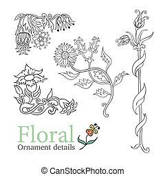 décoratif, décoratif, fleurs, ensemble, vecteur