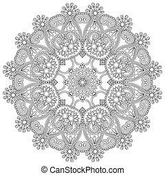 décoratif, dentelle, ornement, cercle blanc, noir, modèle,...