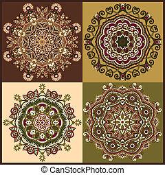 décoratif, dentelle, ornement, collection, cercle, rond