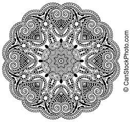 décoratif, dentelle, ornement, modèle, cercle, noir, ...