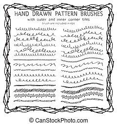 décoratif, dessiné, ensemble, pinceaux, main
