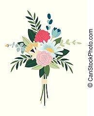 décoratif, dessins, plants., bouquet., fleurs, fleurir, paquet, floral, decorations., détaillé, élégant, concept., branché, floristic, mariage, collection, fleur